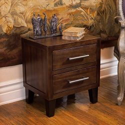 Glendora Brown Mahogany Solid Wood Two Drawer Nightstand
