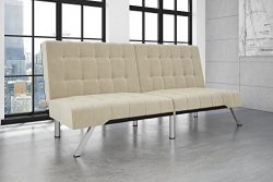 DHP Emily Futon Sofa Bed, Modern Convertible Couch with Chrome Legs Quickly Converts into a Bed, ...