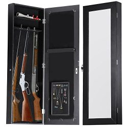 Gun Cabinet Jewelry Mirror Armoire (His & Hers) Rifle & Pistol Safe (Holds Small 35.5&#8 ...