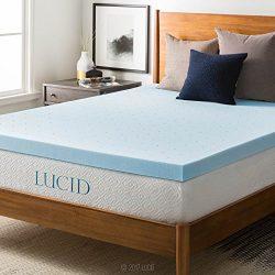 LUCID 3″ Gel Memory Foam Mattress Topper, Blue, King
