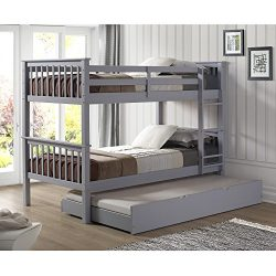 WE Furniture Solid Wood Twin Bunk Bed with Trundle Bed – Gray