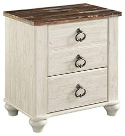 2-Drawer Nightstand in Two Tone White Wash Finish
