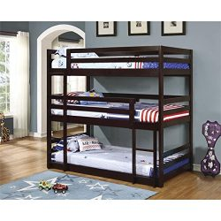 Coaster 400302, Triple Twin Bunk Bed with Multiple Configurations, Built-In Ladder and Solid Pin ...