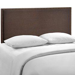 Modway Region Upholstered Linen Headboard Queen Size With Nailhead Trim In Dark Brown