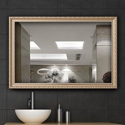 Hans&Alice Clean Large Modern Rectangle Gold Framed Wall Mounted Mirror, Vanity, Bedroom, or ...