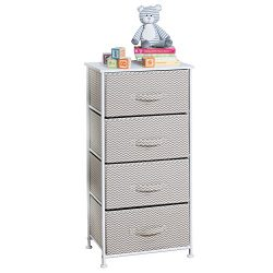 mDesign Chevron Fabric Baby 4-Drawer Dresser and Storage Organizer Unit for Nursery, Bedroom, Pl ...