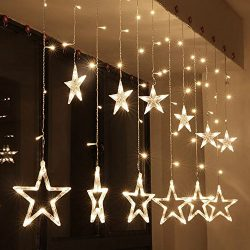 Zology LED Star Curtain String Light, 138 LED Fairy Strip Rope Lamp Window Light for Bedroom Kid ...