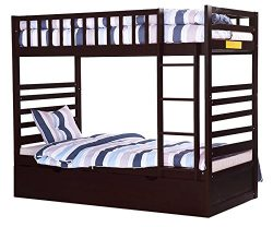 Merax Bunk Bed Twin Over Twin with Trundle Bed and End Ladder in Espresso