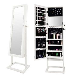 Bonnlo Jewelry Armoire Cabinet Closet Square Stand,Full Length Mirrored & Inside Mirror,Lock ...