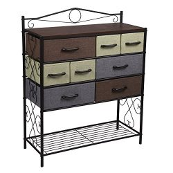 Household Essentials Victorian 8-Drawer Chest | Storage Dresser or Entryway Table | Black