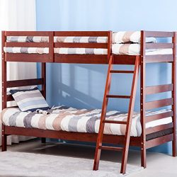 Merax Twin Over Twin Bunk Bed Solid Wood (Cherry)