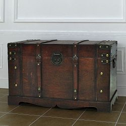 Vintage Antique Style Large Wooden Treasure Storage Trunk Blanket Steamer Chest