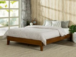 Zinus 12 Inch Deluxe Wood Platform Bed / No Boxspring Needed / Wood Slat support / Cherry Finish ...