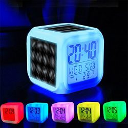 Alarm Clock 7 LED Color Changing Wake Up Bedroom with Data and Temperature Display (Changable Co ...