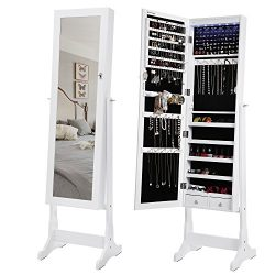 SONGMICS 6 LEDs Jewelry Cabinet Lockable Standing Jewelry Armoire Organizer with Mirror 2 Drawer ...
