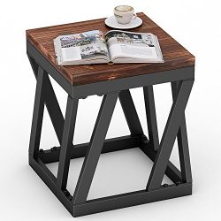 Tribesigns Rustic Style Solid Wood Chairside End Table Nightstand for Bedroom, Living Room, Entryway