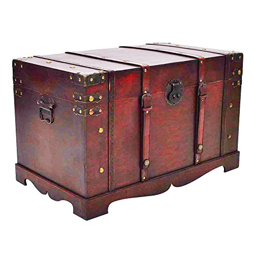 vidaXL Large Wooden Treasure Storage Thunk Blanket Steamer Chest Vintage Antique Style