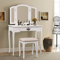Harper & Bright Designs Vanity Set Make-up Dressing Table with Mirror and Cushioned Stool (w ...