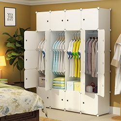 MAGINELS Portable Closet Clothes Wardrobe Bedroom Armoire Storage Organizer with Doors 20 Cube W ...