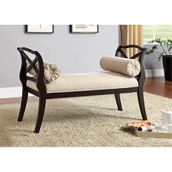 Furniture of America Paracas Romantic Accent Bench, Espresso