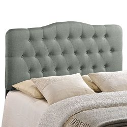Modway Annabel Upholstered Tufted Button Fabric Headboard King Size In Gray