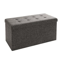 Seville Classics Foldable Storage Bench Ottoman, Charcoal Gray