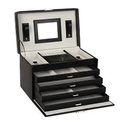Large Lovely Jewellery Box Beautify Cosmetics Case Roomy Elegant Armoire 4 Drawers (Black) by BE ...