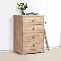 Modern 4 Drawer Wood Chest , Works as Dresser & Cabinet for Bedroom in Oak