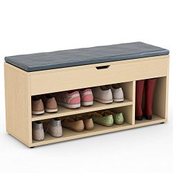 Tribesigns Storage Bench Upholstered Shoe Rack Hall Bench for Entryway, Hallway, Bedroom (Oak)