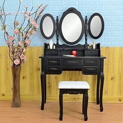 FCH Wooden Vanity Set Princess Dressing Makeup Table with Drawers&Mirrors Bedroom Bathroom G ...