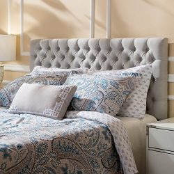 Annecy Light Grey Fabric Queen/ Full Headboard