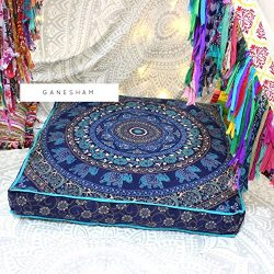 Ganesham Handicraft – Square Floor Pillow Large Ottoman Pouf Cover Hippie Indian Seating D ...