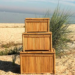 The Key West Trunk, Vintage Island Style, Natural Bamboo, Storage and Blanket Chests, Set of 3,  ...