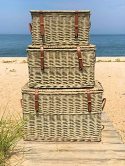The Cape Cod Wicker Trunks, Set of 3, Faux Leather Straps and Handles, Storage and Blanket Chest ...