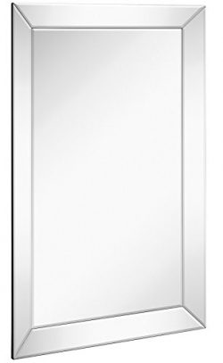 Large Framed Wall Mirror with Angled Beveled Mirror Frame | Premium Silver Backed Glass Panel Va ...