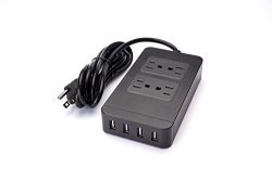 Surgetek Portable 4 Outlet Travel Power Strip Smart Power Strip with 4 USB Ports Smart Charger , ...