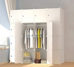 MEGAFUTURE Wood Pattern Portable Wardrobe for Hanging Clothes, Combination Armoire, Modular Cabi ...