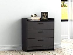 Homestar EB208751B9 Central Park 3 Drawer Chest, 15.98 x 27.48 x 30″, Black Brown