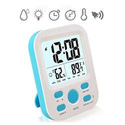 Alarm Clock for Desk,Vekey Weather Monitor Clock Large Screen Desk Shelf Clocks Wake Up Clocks f ...