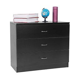 FCH 3-Drawer Dresser Stylish Storage Chest with drawers Cabinet Home office,Black