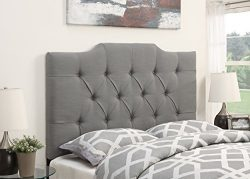 Pulaski Saddle Back Button Tufted Upholstered Headboard, Ash, Full/Queen