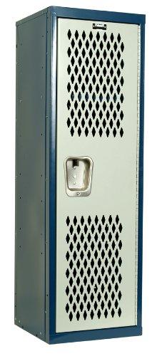 Hallowell Home Team Locker, 15″W x 15″D x 48″H, Dark Blue Body / Light Gray Do ...