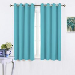 NICETOWN Blackout Curtains 63 Long – Window Treatment Thermal Insulated Solid Grommet Blac ...