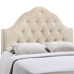 Modway Sovereign Upholstered Tufted Button Fabric Headboard King Size In Ivory