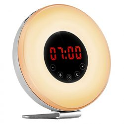 Alarm Clock Wake up Light, Sunrise Sunset Simulator Digital LED Electronic Alarm Clock with USB  ...
