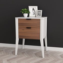 White / Walnut Finish Oak Side End Table Nightstand with Two Storage Drawer 26″H