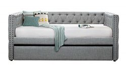 Homelegance Adalie Tuxedo Twin Size Fabric Trundle Daybed, Gray