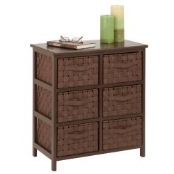 Honey-Can-Do TBL-03758 6-Drawer Storage Chest with Woven-Strap Fabric, Brown, 24-Inch