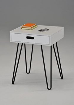 White Side End Table Nighstand Black Metal Legs with One Drawer 24″H – Mid-Century Style