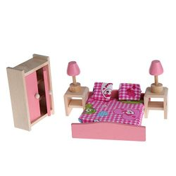 yournameI Dollhouse Wooden Furniture, Miniature 5 Set Room Doll Furniture Toy for Kid Children ( ...